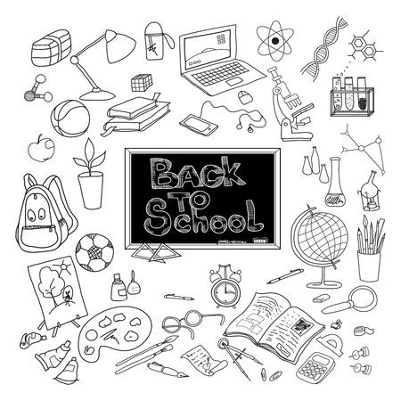 ni�os con pancarta: De nuevo a fuentes de kit escolares y accesorios b�sicos para el cartel estudioso joven garabato negro resumen ilustraci�n vectorial Vectores