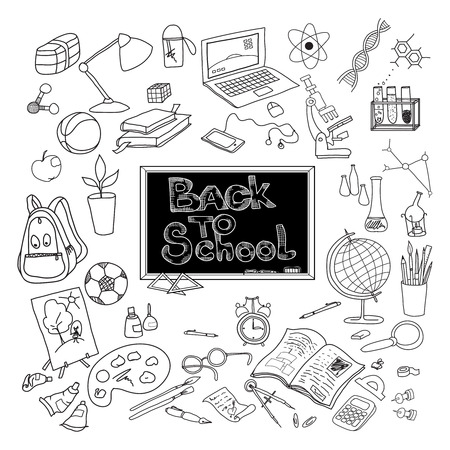 Back to school kit supplies and basic accessories for young scholar poster black doodle abstract vector illustration Illustration