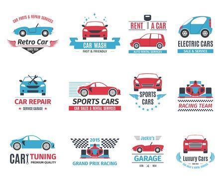 Auto reparatie service verhuur en wassen logo geïsoleerd set vector illustratie
