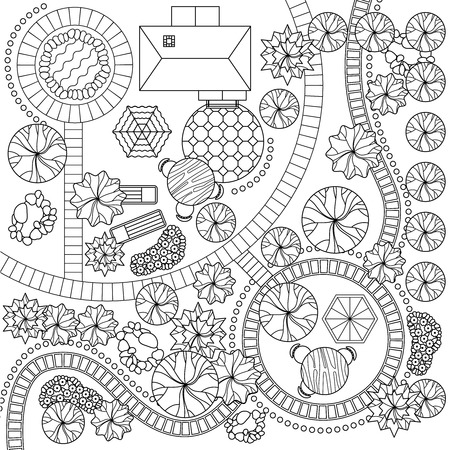 schema: Detailed city garden plan including planting schema water elements and furniture black line design abstract vector illustration