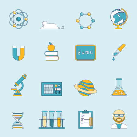 Science research scholarship and study symbols and devices flat lined color icon set isolated vector illustration Illustration