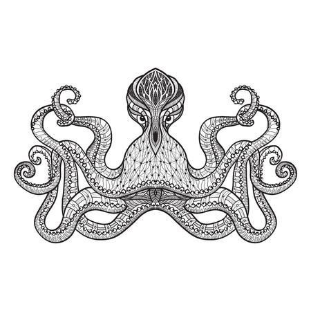 origen animal: Mirando pulpo estilizado bordado carácter o patrón grabado diseño pictograma del doodle de impresión línea negro resumen ilustración vectorial