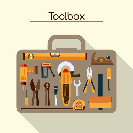 Toolbox van de werkman concept met de hand en elektrisch gereedschap vector illustratie Stock Illustratie