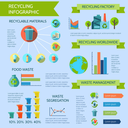 glass recycling: Recycling infographic set with waste segregation collection and management flat vector illustration