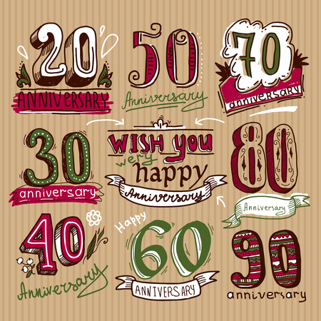 retro party: Anniversary celebration ceremony congratulations sketch signs colored collection set isolated vector illustration Illustration