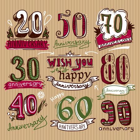 auguri di buon compleanno: Celebrazione anniversario congratulazioni cerimonia segni schizzo collezione colorata insieme isolato illustrazione vettoriale