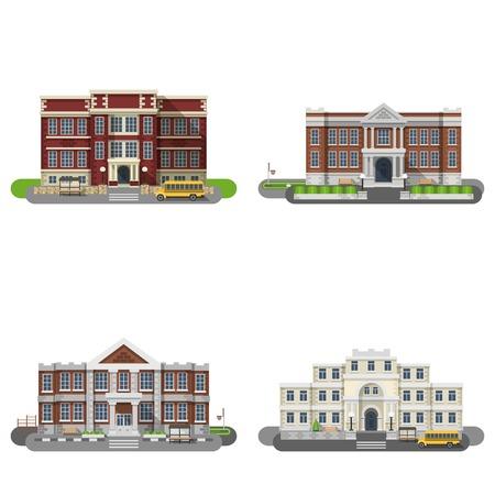 edificios: Los edificios escolares y universitarios iconos planos conjunto aislado ilustración vectorial Vectores