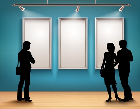 People silhouettes in front of picture frames in art gallery interior vector illustration Stock Illustratie