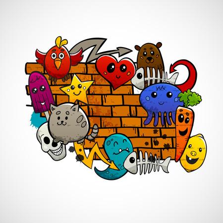 落書き漫画動物果物やレンガ壁単色概念ベクトル図の周りの抽象文字