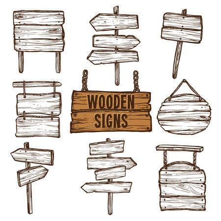 Houten wegwijzers en uithangborden aan kettingen en touwen platte schets geïsoleerd icon set vector illustratie Stock Illustratie