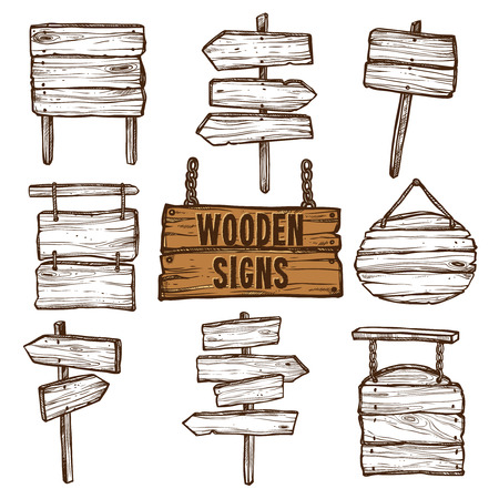 Wooden signposts and signboards on chains and ropes flat sketch icon set isolated vector illustration