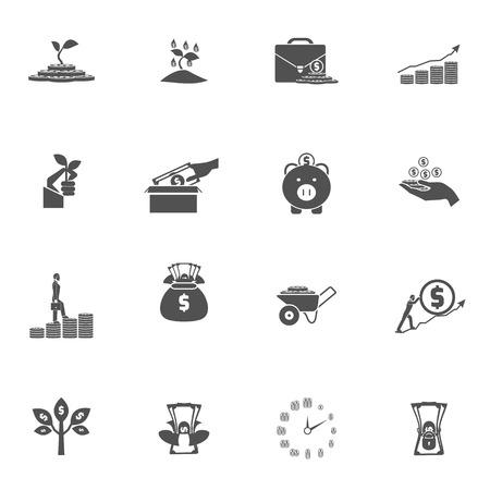 exuberance: Money bucks coins tree and box dollar silhouette black flat icon set isolated vector illustration
