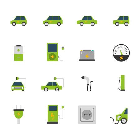 reciclar: Estaci�n de carga de autob�s de coche el�ctrico y socket icono de color plana conjunto aislado ilustraci�n vectorial