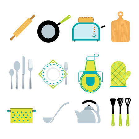 commercial kitchen: Kitchen utensils gadgets and accessories icons collection with toaster and rolling pin flat abstract isolated vector illustration Illustration