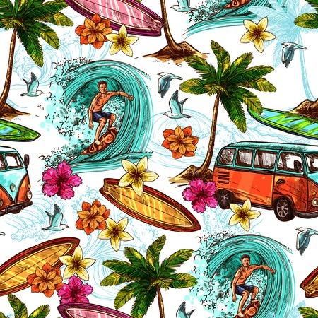 Surf naadloze patroon met schets surfer en tropisch strand elementen vector illustratie Stock Illustratie
