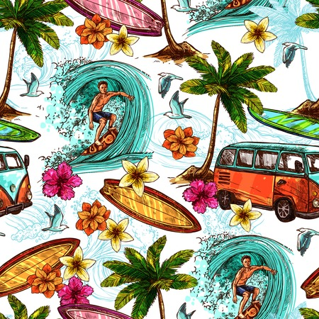 surfer: Surf seamless pattern with sketch surfer and tropical beach elements vector illustration