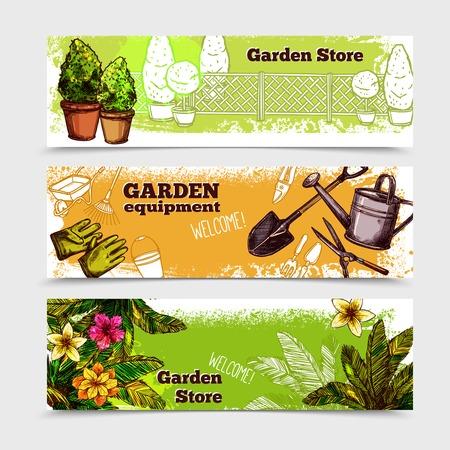 Garden horizontal banner set with sketch seedling equipment isolated vector illustration Illustration