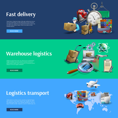 fast train: Transportation and logistics horizontal banners set with fast delivery cartoon isolated vector illustration Illustration