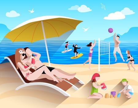 People playing and surfing on summer sea beach flat vector illustration Stock Illustratie
