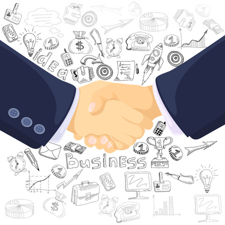 foreground: Successful business teamwork partnership concept black outlined icons composition with  prominent foreground handshake symbol abstract vector illustration Illustration