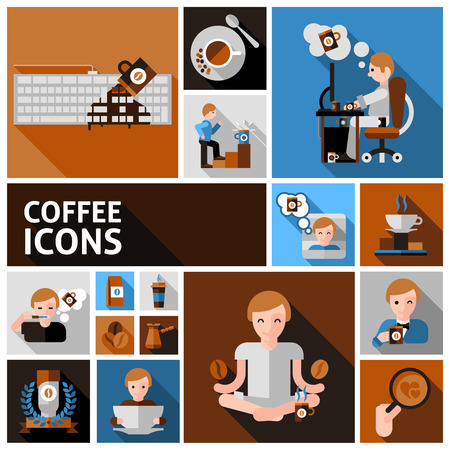 heart icon: Coffee and morning icons set with cup computer and newspaper flat isolated vector illustration