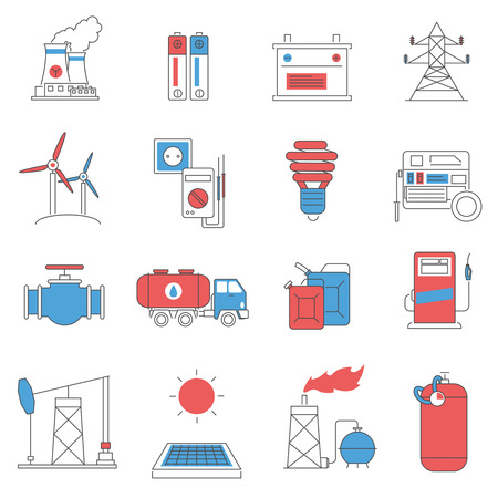 energy distribution: Oil extracting storage and fuel distribution power and energy systems pictograms collection line abstract isolated vector illustration