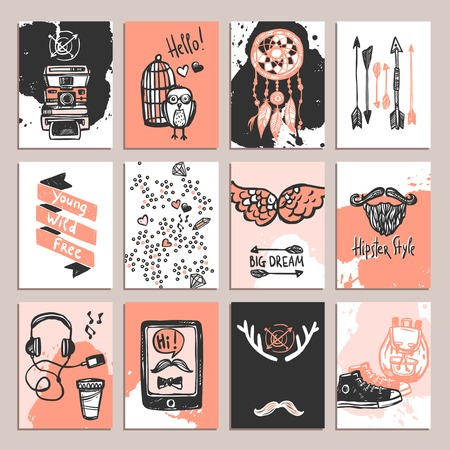 funky: Hipster paper card set with sketch fashion accessories isolated vector illustration