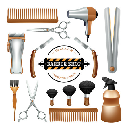 Barbershop sign and tools comb scissors brush razor color decorative icon set isolated vector illustration