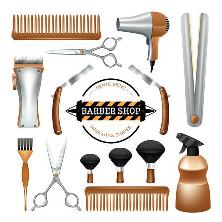 peigne et ciseaux: Barbershop signe et outils ciseaux peigne brosse couleur de rasoir ic�ne d�corative ensemble isol� illustration vectorielle Illustration