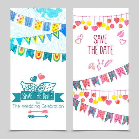 date of birth: Save the day card paper wedding invitation template set isolated vector illustration