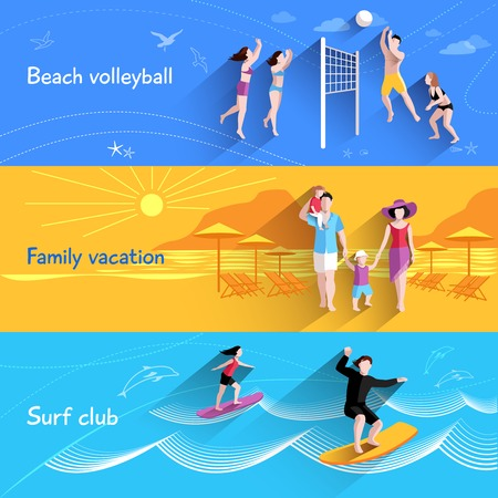 People on beach horizontal banner set with beach volleyball family vacation elements isolated vector illustration