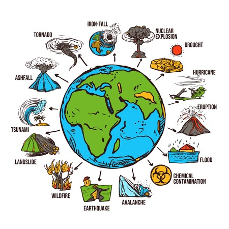 disaster: Natural disasters infographics set with sketch globe and catastrophe symbols vector illustration
