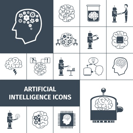 computer model: Artificial intelligence and digital brain icons black set isolated vector illustration