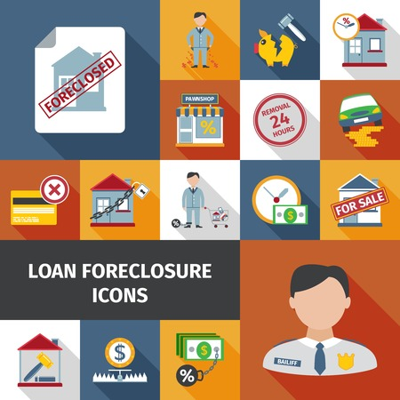 foreclosure: Loan foreclosure and debt crisis icon set isolated vector illustration Illustration