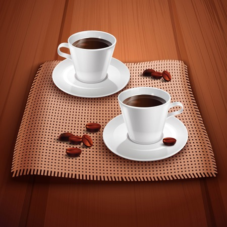 coffee table: Coffee realistic background with two porcelain cups on wooden table vector illustration