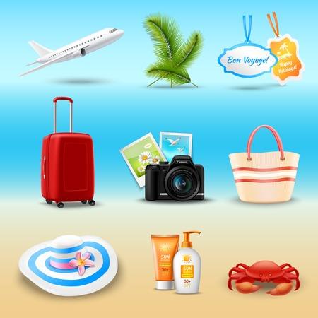aeroplano: Vacanze icone realistiche hanno impostato con illustrazione vettoriale aereo palmo valigia isolata