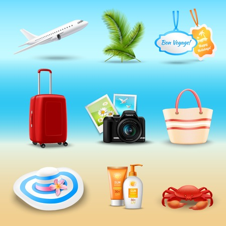 airplane: Vacation realistic icons set with airplane palm suitcase isolated vector illustration