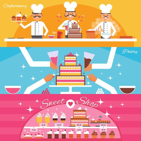 sweet shop: Confiter�a y dulce tienda banners horizontales establecidas con la torta y pasteler�a plana aislado ilustraci�n vectorial Vectores