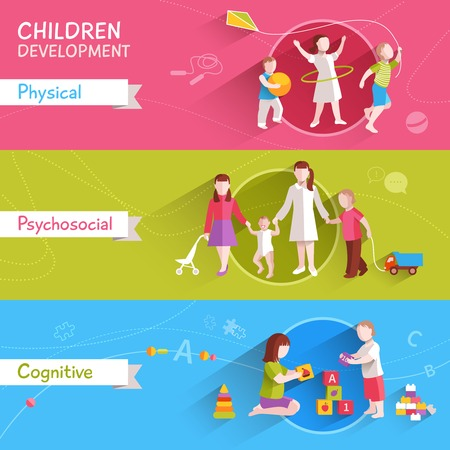 young: Children activities horizontal banner set with physical and cognitive flat elements isolated vector illustration Illustration