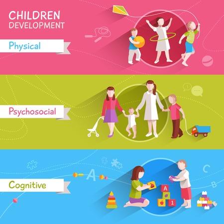 junge nackte frau: Kinderaktivit�ten horizontale Banner mit k�rperlichen und kognitiven flachen Elementen getrennt Vektor-Illustration festgelegt