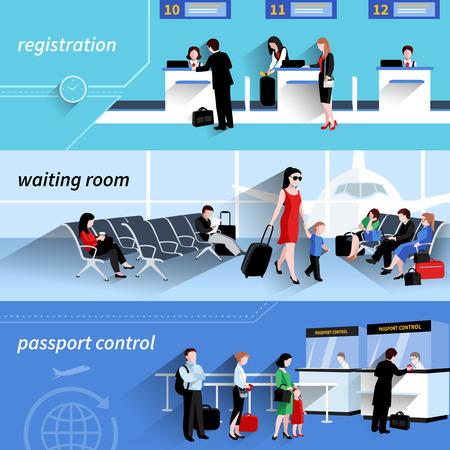 passaporto: La gente in banner orizzontale aeroportuali fissati con elementi sala d'attesa illustrazione vettoriale isolato Vettoriali