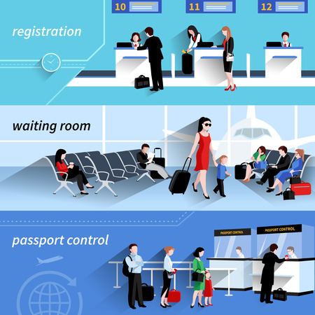 airport business: People in airport horizontal banners set with waiting room elements isolated vector illustration