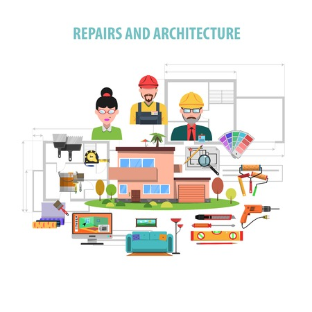 housing project: Interior design concept with flat repairs and architecture icons set vector illustration Illustration