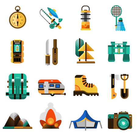 business survival: Camping and rest icons set with tent trailer and camera flat isolated vector illustration Illustration