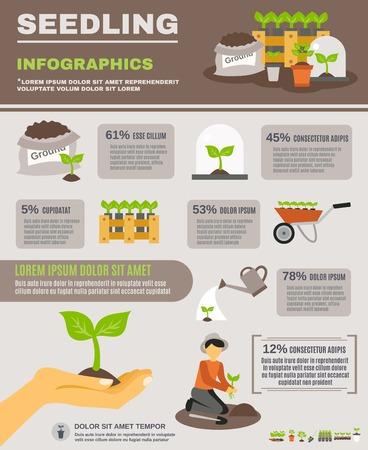 seedling: Seedling infographics set with gardening elements and equipment vector illustration Illustration