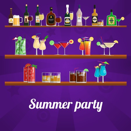mini bar: Summer cocktail party concept with drinks and refreshments on shelves vector illustration Illustration