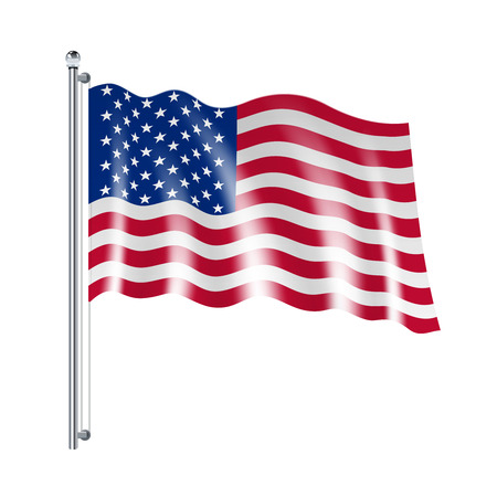 flags of the world: National american united states flag flowing on white background vector illustration