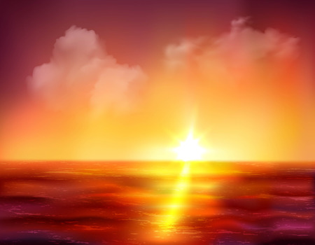sunrise ocean: Beautiful sunrise over ocean with golden sun and dark red waves vector illustration