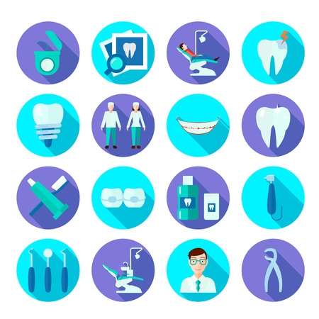 cavity braces: Dental tools doctor tooth care and symbols flat color icon set isolated vector illustration