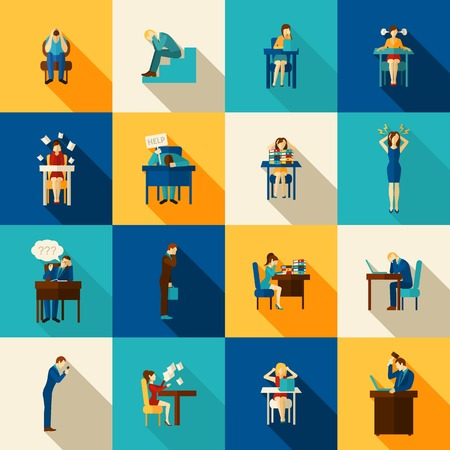 frustrated: People in frustration overwhelmed with office work icons flat set isolated vector illustration
